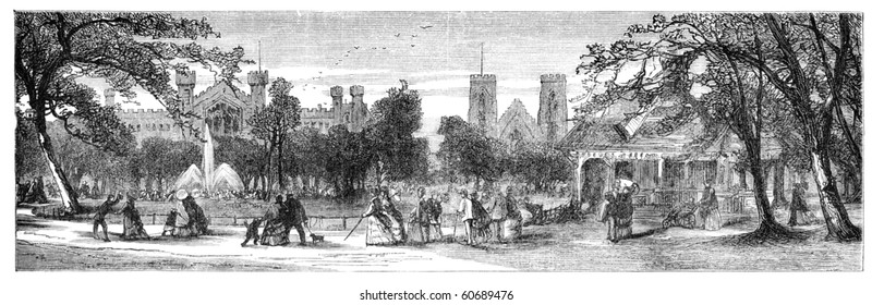 """Washington Square, New York. Illustration originally published in Hesse-Wartegg's """"Nord Amerika"""", swedish edition published in 1880. The image is currently in public domain by the virtue of age."""
