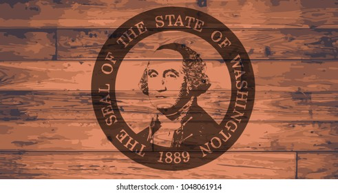 Washington State Flag and seal branded onto wooden planks