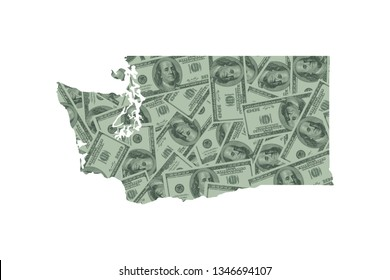 Washington State Map and Money Concept, Hundred Dollar Bills
