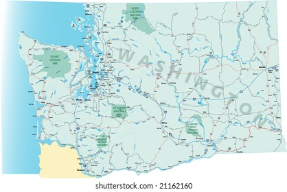 Washington state road map with Interstates, U.S. Highways and state roads. All elements on separate layers for easy editing.
