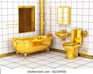Washroom with golden toilet bowl, sink and bathtub. 3d image.