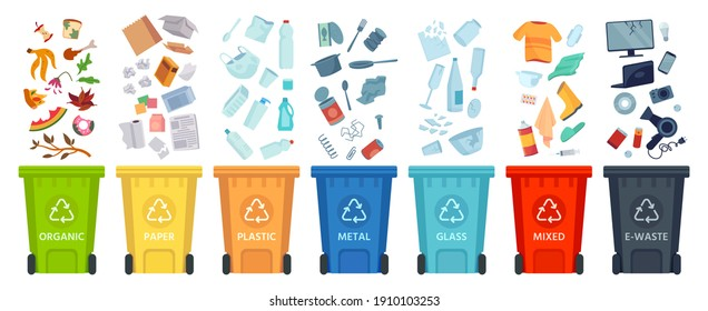Waste segregation. Sorting garbage by material and type in colored trash cans. Separating and recycling garbage  infographic. Garbage and trash, ecology rubbish recycling illustration