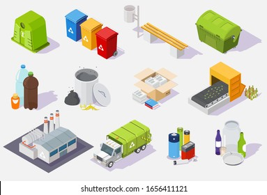 Waste sorting and recycling process isometric icon set, illustration isolated on white background. Garbage recycling equipment, plant, trash truck and cans, plastic paper glass household waste.