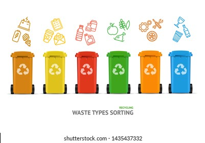 Waste Sorting Types Concept Recycled Bins witch Color Outline Icons Segregation Garbage Environment Protection. illustration of Trashcan