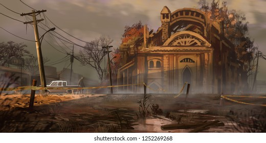 Wasteland Street Buildings. Fiction Backdrop. Concept Art. Realistic Illustration. Video Game Digital CG Artwork. Nature Scenery.