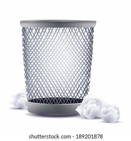 Wastepaper basket against white background