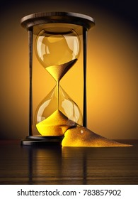 Wasting time concept, lack of time, time lost and time management, broken vintage hourglass with sand falling out of them, yellow background, 3d illustration