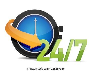 watch 24/7 Concept illustration design over white