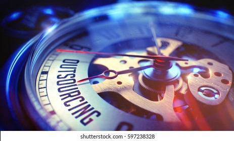 Watch Face with Outsourcing Phrase on it. Business Concept with Light Leaks Effect. 3D Illustration.