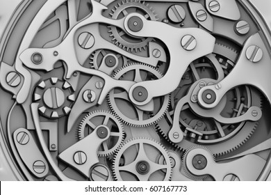 Watch machinery 3D rendering with gears
