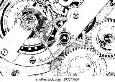 Watch mechanism,  a black and white illustration