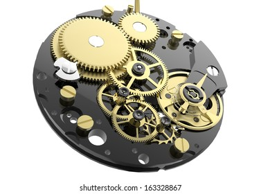 Watch mechanism and gears isolated on white background