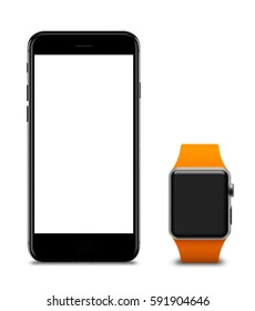 Watch and smartphones with blank screen, isolated on white background. 3d illustration.