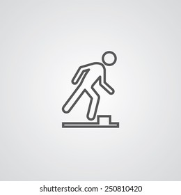watch your step outline thin symbol, dark on white background, logo creative template