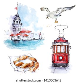 Watecolor Istanbul, Turkey set with Maiden tower, tram, seagull and simit. Hand painted elements isolated on white. Perfect for posters, cards and web design.