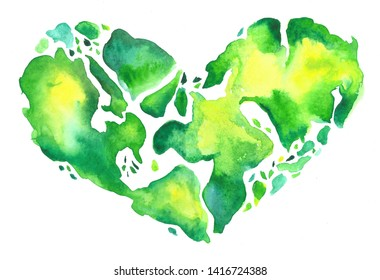 watecolor map of the World shaped as heart on white background. Environmental conservation. Travel.