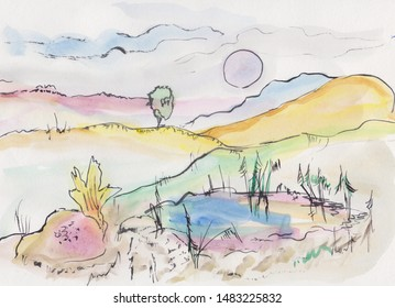 watecolor rural  fantasy landscape with sun and hills