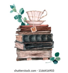 Watecrolor illustration of old books composition with leaves and flowers. Vintage illustration of pile of books, paper sheets and cup of tea
