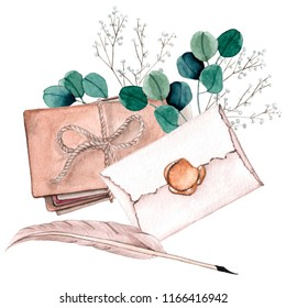 Watecrolor illustration of old envelopes with wax steal and feather pen composition with leaves and flowers. Vintage illustration