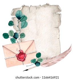 Watecrolor illustration of old paper sheets and envelope with red wax seal and feather pen. Vintage illustration with eucalyptus branches