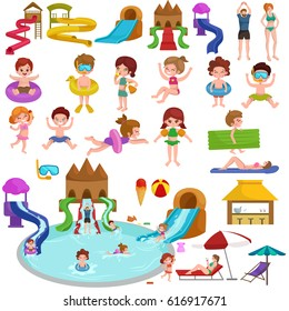 Water aquapark playground with slides and splash pads for family fun illustration.