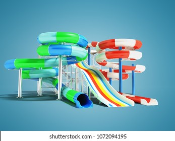 Water attractions with spring slides and a straight hill on the left 3d render on blue background with shadow