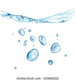 Water background with bubbles and water line. Watercolor hand drawn painted illustration.