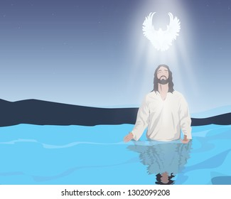 water baptism of Jesus Christ. receiving the holy spirit
