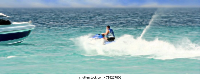 Water bike. High speed, lots of spray. Possible accident with a boat.