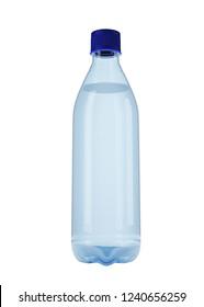 Water bottle, isolated on white background, mockup for the presentation. 3d illustration, 3d rendering.