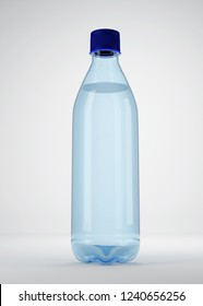 Water bottle, on grey background, mockup for the presentation. 3d illustration, 3d rendering.