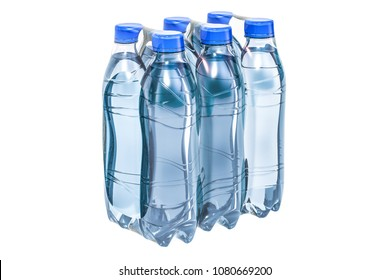 Water bottles wrapped in the shrink film, 3D rendering isolated on white background