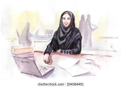 Water color drawing paining abstract arabic businesswoman office computer table sitting in traditional clothing. Concept of multinational global business. Draw conceptual watercolor collection.