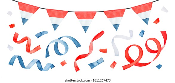 Water color illustration pack with celebration bunting, party streamers, flying confetti and triangular flag of the Netherlands. Hand drawn watercolour sketchy drawing, clipart elements for design.