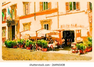 water color illustration restaurant rome street