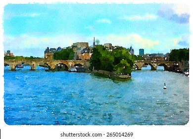 water color illustration  seine river