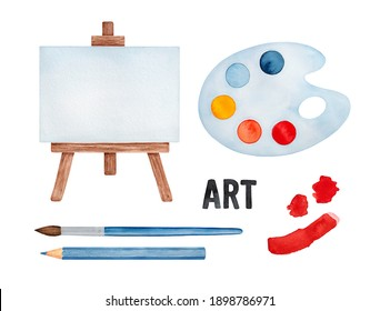 Water color illustration set of various drawing symbols: paint palette, easel, brush, pencil, brushstrokes. Hand painted watercolour graphic illustration, cutout clip art elements for creative design.
