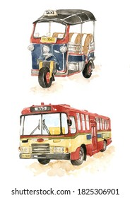 Water color illustration of Thailand vehicle,Thai Tuk Tuk and bus drawing