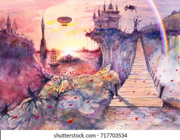 Water color painting beautiful sea landscape, castle, rocks, dragon, rainbow, Crimea bridge, watercolor art