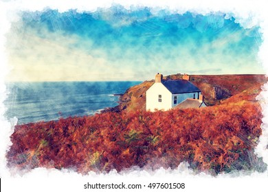 Water color painting of a white cottage on the clifffs at Cape Cornwall near St Just on the Cornish coastline