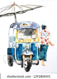 water color paiting illustration on canvas - Thai taxi - tuk tuk with man