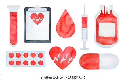 Water color set of medical and blood donor elements: droplet, lab tube, clipboard, tablets, blood bag, needle, pills, heart sign with heartbeat. Sketchy watercolour drawing, cutout clipart for design.