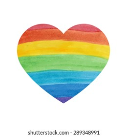 Water color textured rainbow heart on white background
