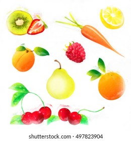 water colored fruits and vegetables