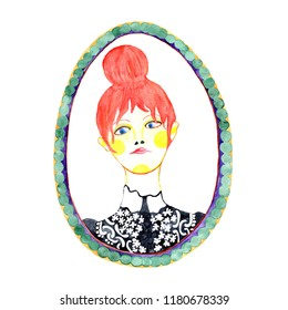 A water colored illustration with a portrait of a red-haired girl in a black blouse. A cameo frame with a female figure, isolated, on the white background.