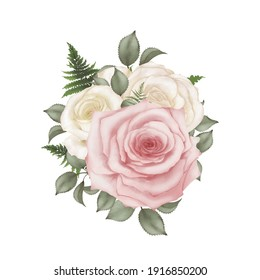 Water colors of pink and ivory rose bouquet on white background
