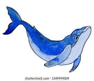 Water colour cartoon sea blue whale. Aquarelle hand drawn isolated on white.