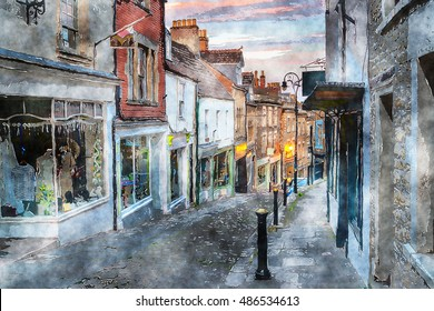 Water colour painting of dusk on Catherine Hill a cobbled street of historic buildings at Frome in Somerset
