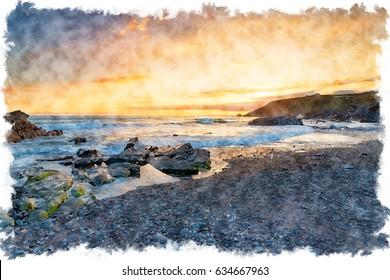 Water colour painting of sunset at Church Cove near Gunwalloe on the Cornwall Coast