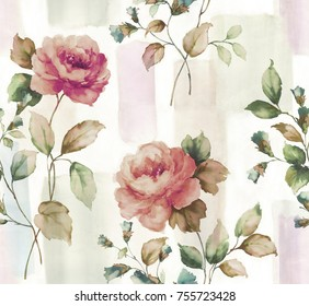 Water colour seamless rose in painted    background